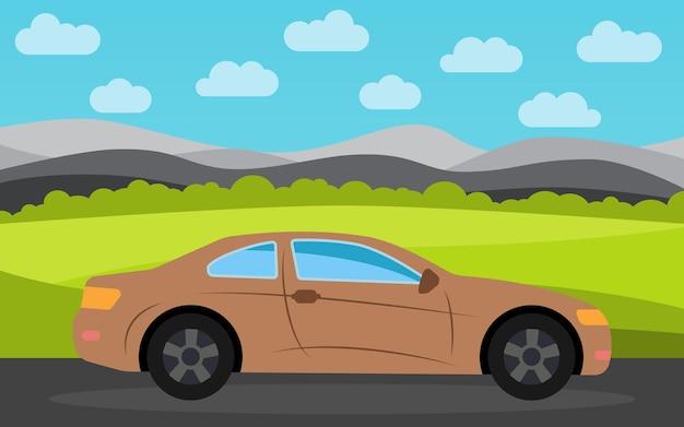 Коричневый спортивный автомобиль на фоне природного пейзажа в дневное время. векторная иллюстрация.