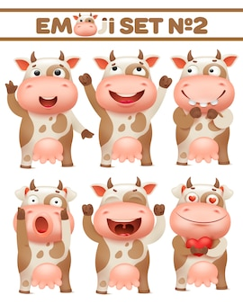 Brown spotted cow set, farm animal character in various poses vector illustrations