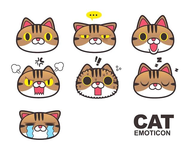 茶色のタブビー猫の顔の顔文字、絵文字、表情は白い背景に隔離されています。