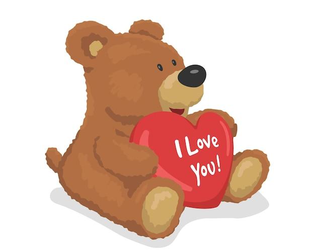 Бурый плюшевый мишка держит сердце. я тебя люблю надпись. шаблон для свадебных открыток. векторная иллюстрация.