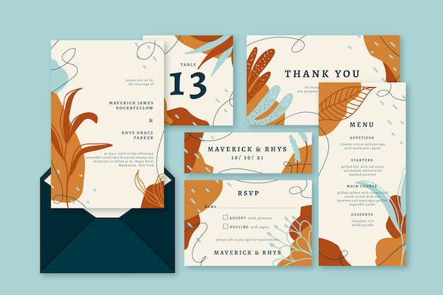 Brown terracotta wedding stationery
