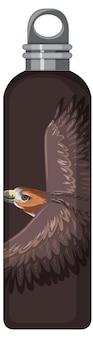 Un thermos marrone con motivo a falco