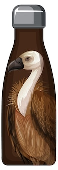 A brown thermos bottle with vulture pattern