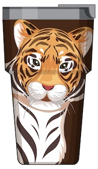 A brown thermos flask with tiger pattern
