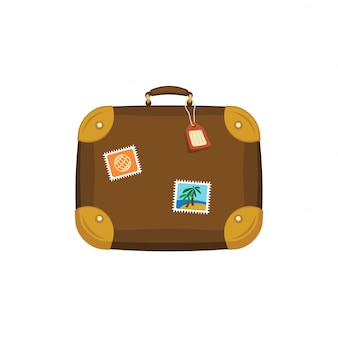 Brown travel bag suitcase with stickers, tag, label on isolated white background. summer handle luggage. travel concept. flat  icon illustration.