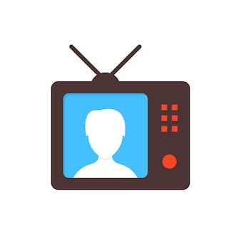 Коричневый значок тв с телеведущей. концепция ведущего, репортаж, блог, корреспондент, телеведущая, интернет-новости, вебинар. плоский стиль современного дизайна векторные иллюстрации на белом фоне