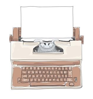Brown vintage electric typewriter vector illustration