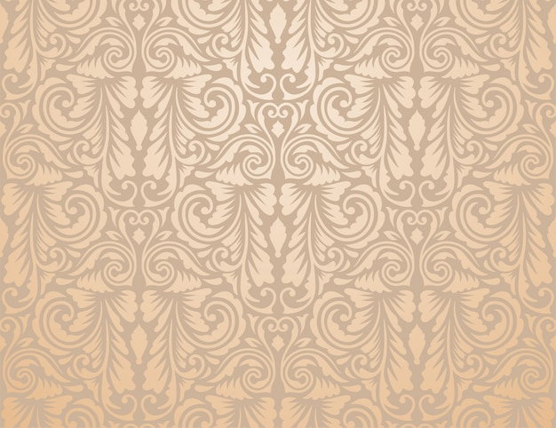 Brown vintage floral wallpaper