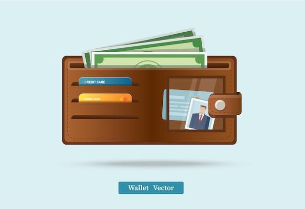 緑のドルでいっぱいの茶色の財布