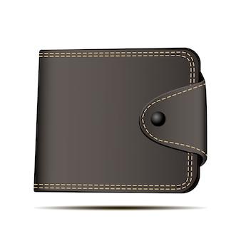 Brown wallet vector illustration. deposit symbol.