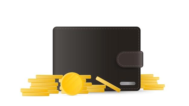 동전이 있는 갈색 지갑. 3d에서 금화와 남자 지갑입니다.
