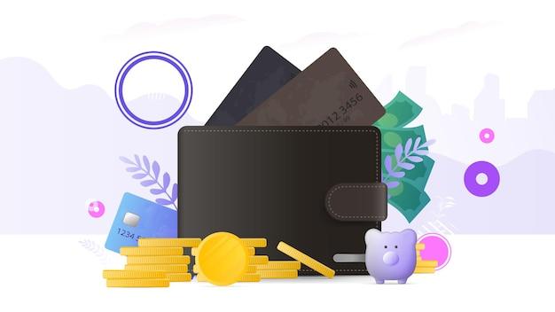 신용 카드와 금화가 있는 갈색 지갑. 은행 카드가 있는 남성용 지갑. 저축과 돈 축적의 개념. 비즈니스 주제에 대한 프레젠테이션 및 기사에 적합합니다.