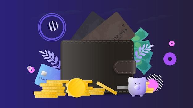クレジットカードと金貨が入った茶色の財布。銀行カード付きメンズウォレット。