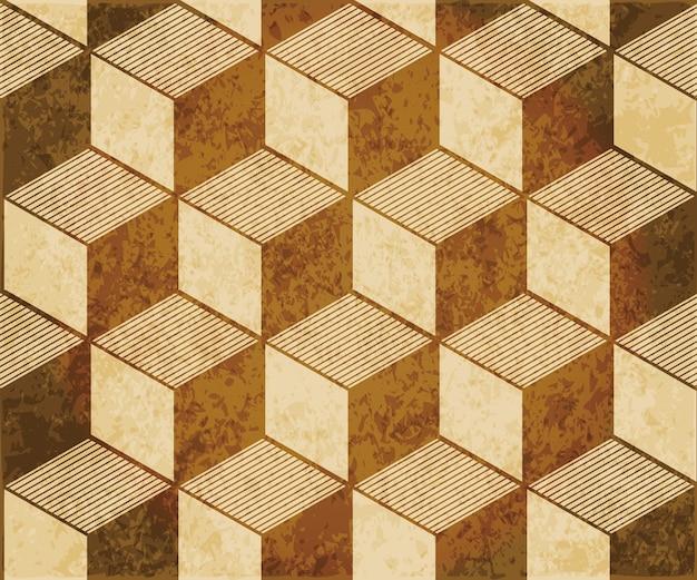 茶色の水彩テクスチャ、シームレスなパターン、3d立方線の正方形のジオメトリ