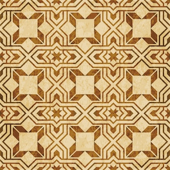 Brown watercolor texture, seamless pattern, arabic islamic cross star geometry
