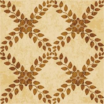 갈색 수채화 질감, 완벽 한 패턴, 크로스 잎 꽃 덩굴