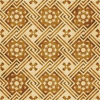 茶色の水彩テクスチャ、シームレスパターン、クロススクエアフレーム花