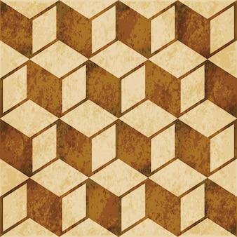 茶色の水彩テクスチャ、シームレスなパターン、立方体の正方形のジオメトリ