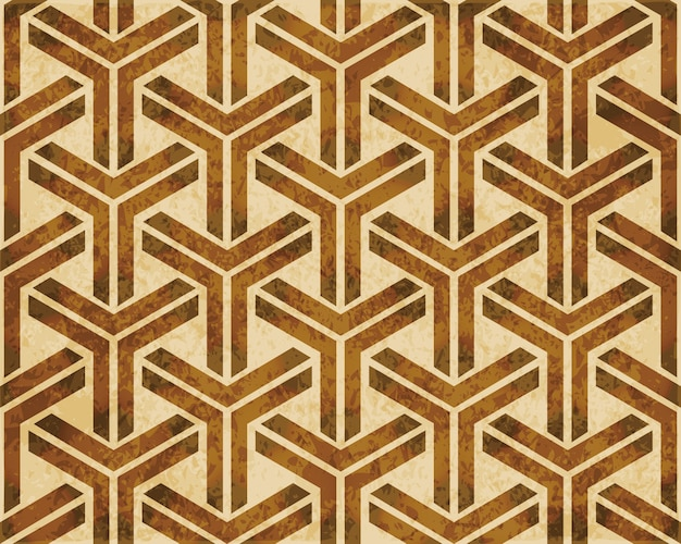 Brown watercolor texture, seamless pattern, cubic triangle geometry cross frame