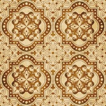 茶色の水彩画のテクスチャ、シームレスなパターン、曲線の正方形の花の万華鏡