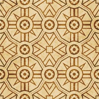 Brown watercolor texture, seamless pattern, dot geometry polygon cross flower