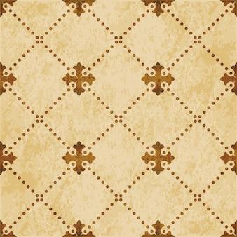 Brown watercolor texture, seamless pattern, dot line cross check