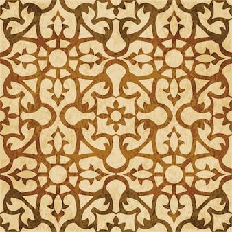 茶色の水彩テクスチャ、シームレスなパターン、花の正方形のクロス万華鏡