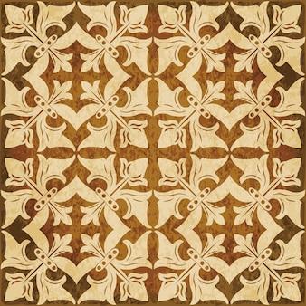 茶色の水彩テクスチャ、シームレスなパターン、花のつるの正方形の十字架
