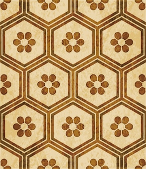 Brown watercolor texture, seamless pattern, hexagon polygon frame round flower