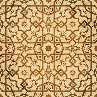 Brown watercolor texture, seamless pattern, islamic cross square polygon star flower
