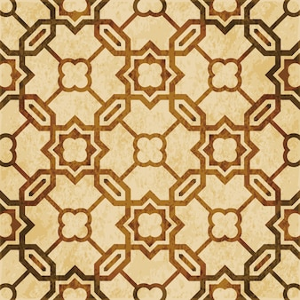 Brown watercolor texture, seamless pattern, islamic polygon chain cross star