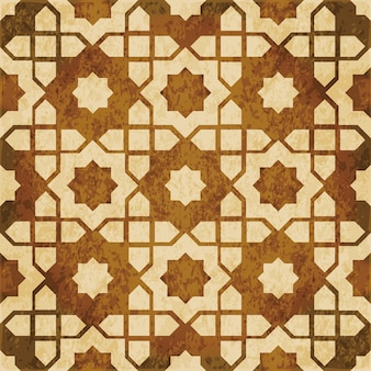 Brown watercolor texture, seamless pattern, islamic star geometry frame