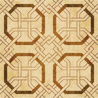茶色の水彩テクスチャ、シームレスパターン、八角形フレームクロスチェーンジオメトリ