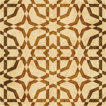 茶色の水彩テクスチャ、シームレスパターン、八角形フレームクロススター