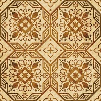 茶色の水彩テクスチャ、シームレスなパターン、八角形のジオメトリクロスフラワーつる