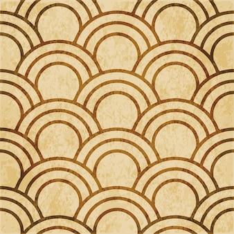 茶色の水彩テクスチャ、シームレスなパターン、東洋の魚の鱗の丸い曲線