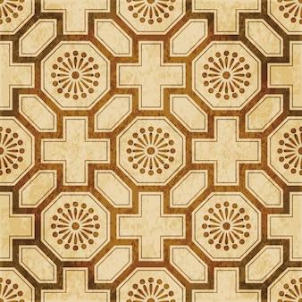 茶色の水彩テクスチャ、シームレスパターン、多角形の正方形のクロスフラワー格子
