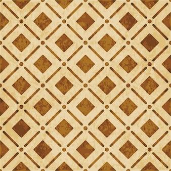 茶色の水彩テクスチャ、シームレスパターン、丸い角の正方形のチェッククロスライン