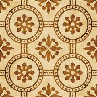 Brown watercolor texture, seamless pattern, round cross dot line flower