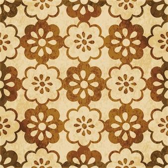 갈색 수채화 질감, 완벽 한 패턴, 라운드 크로스 꽃 프레임