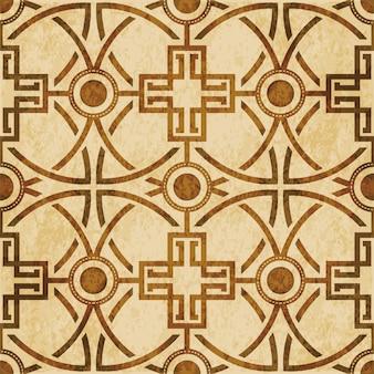 茶色の水彩テクスチャ、シームレスパターン、丸いクロスフレームライン