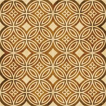 茶色の水彩テクスチャ、シームレスなパターン、丸いクロスラインの花