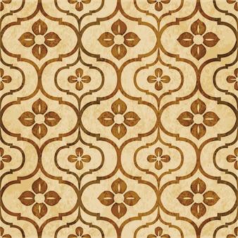 茶色の水彩テクスチャ、シームレスなパターン、丸い曲線のクロスフレームの花