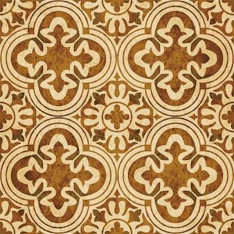 茶色の水彩テクスチャ、シームレスなパターン、丸い曲線の花の十字架