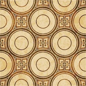 茶色の水彩テクスチャ、シームレスパターン、ラウンドジオメトリクロスチェーン