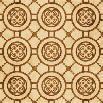 茶色の水彩テクスチャ、シームレスパターン、ラウンドハートクロス