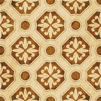 Brown watercolor texture, seamless pattern, round polygon dot line flower