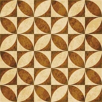 茶色の水彩テクスチャ、シームレスなパターン、丸い正方形のジオメトリクロス