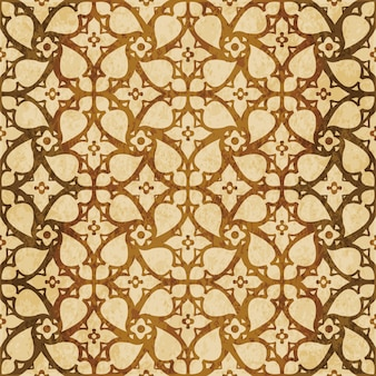 Brown watercolor texture, seamless pattern, spiral cross flower lace