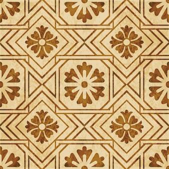 茶色の水彩テクスチャ、シームレスなパターン、正方形のチェッククロスフレームの花